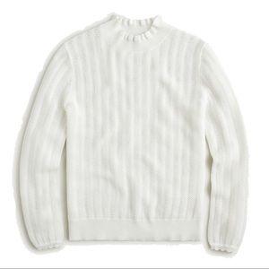 NWOT J.Crew white pointelle ruffle neck sweater, L